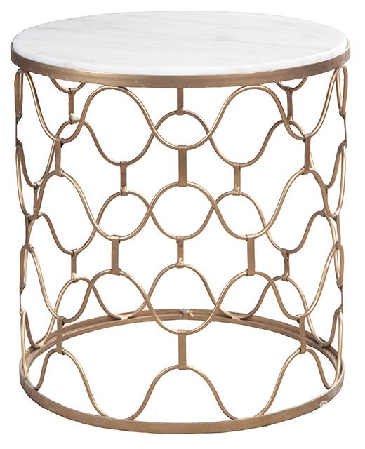Brass/marble, Industria Uovo Side Table Brass/marble