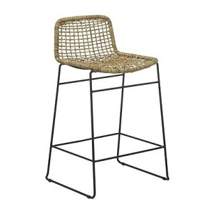 Olivia Open Weave Bar Stool - Greywash