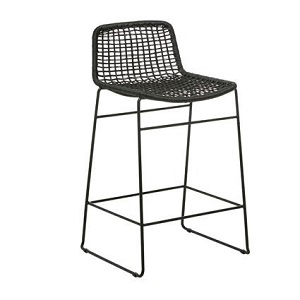 Olivia Open Weave Bar Stool - Black