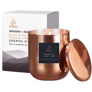 Equilibrium Scented Soy Candle - Copper Jar - Mandarin, Basil & Lime