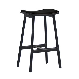 Sketch Odd Leather Barstool - Black 66cm
