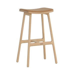 Sketch Odd Leather Barstool - Light Oak 66cm