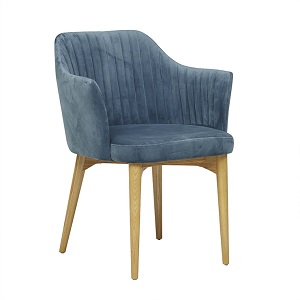Carter Timber Leg Arm Chair - Blue Grey/Natural Ash