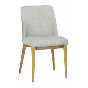 Rosie Timber Leg Dining Chair - Cool Grey