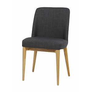 Rosie Timber Leg Dining Chair - Soot