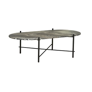 Elle Pipe Marble Oval Coffee Table - Storm & Black