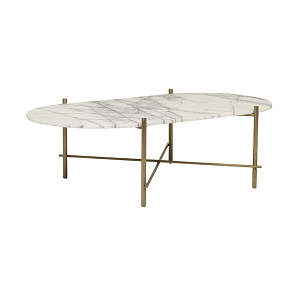Elle Pipe Marble Oval Coffee Table - Winter Snow & Brushed Gold