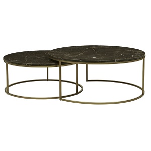 Elle Round Marble Nest Coffee Tables - Brown & Brushed Gold