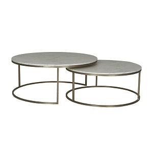 Elle Round Marble Nest Coffee Tables - Matt White & Brushed Gold