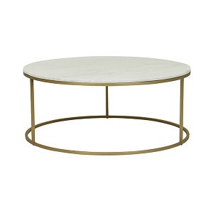 Elle Round Marble Coffee Table - Matt White & Brushed Gold