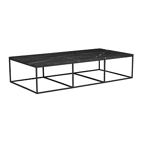 Baxter Platform Marble Coffee Table - Matt Black
