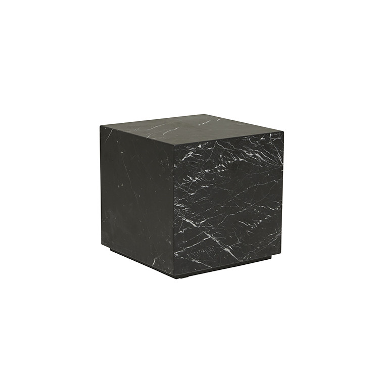 Elle Block Square Side Table - Matt Black