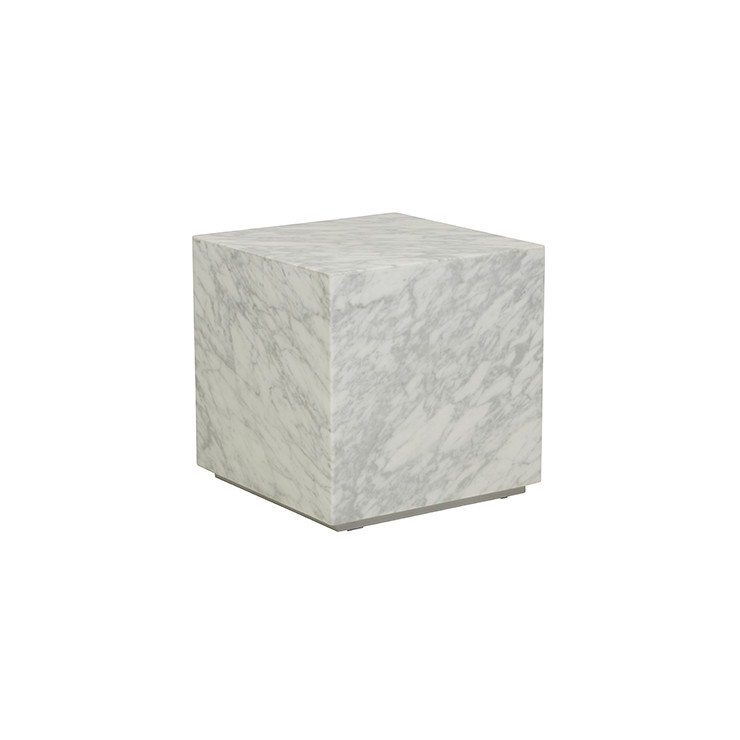 Elle Block Square Side Table - Matt White