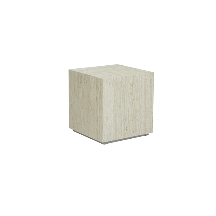 Elle Block Square Side Table - Natural Travertine