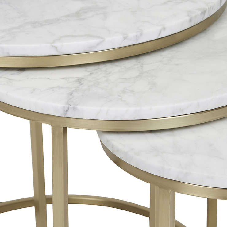 Elle Round Marble Nest Of 3 Tables Brushed Gold Make Your House A Home Bendigo Central Victoria