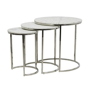 Elle Round Marble Nest of 3 Tables - White & Stainless Steel