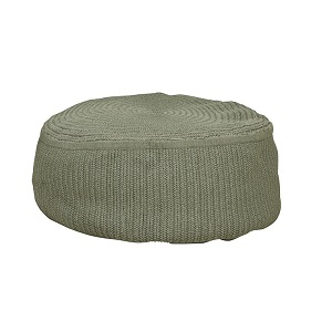 Granada Handwoven Large Round Ottoman - Light Green