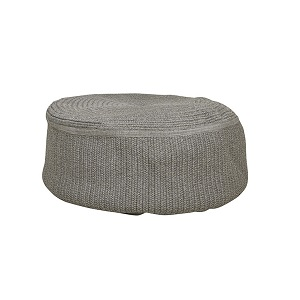 Granada Handwoven Large Round Ottoman - Light Grey