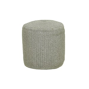 Granada Handwoven Round Ottoman - Light Grey