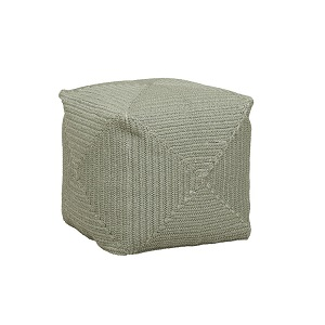 Granada Handwoven Square Ottoman - Light Green
