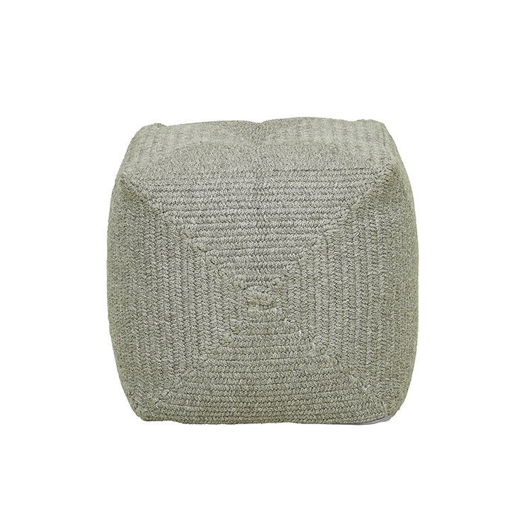 Granada Handwoven Square Ottoman - Light Grey