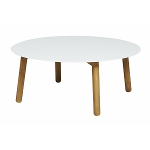 Aperto Round Coffee Table - White & Teak