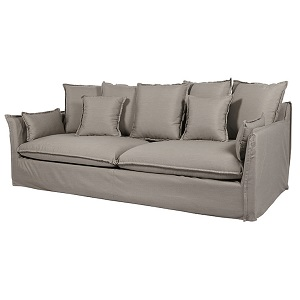 Aperto Slip Cover 3 Seater Sofa - Pale Grey