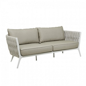 Livorno 3 Seater Sofa - Pale Grey & White