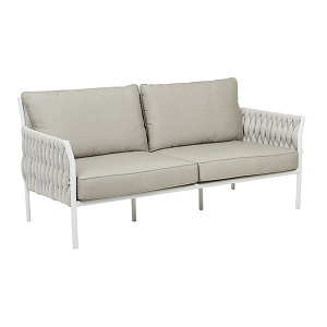 Livorno Square 3 Seater Sofa - Pale Grey & White