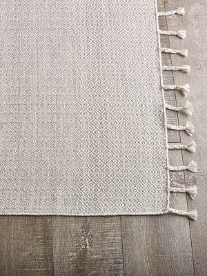Braid Kilim Rug - Silver and Ivory