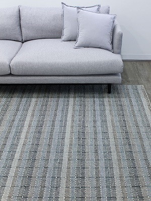 Braid Link Rug - Denim and Sand