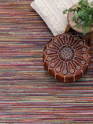 Braid Stripe Rug - Rainbow