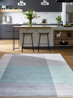 Patch Rug - Grey and Mint