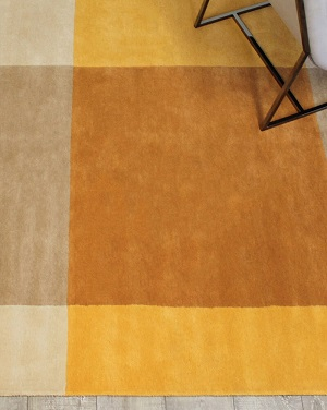 Patch Rug - Beige and Mustard