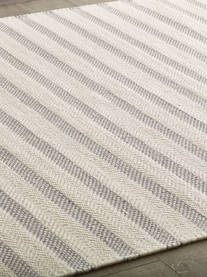 Silhouette Stripe Rug - Ivory and Grey