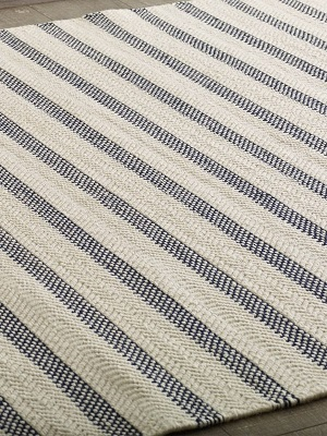 Silhouette Stripe Rug - Ivory and Navy