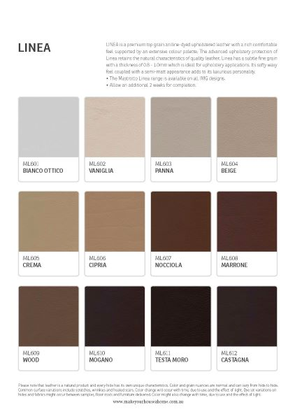 Linea Leather Colour Options 1