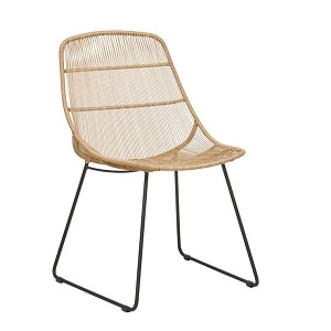 Granada Scoop Dining Chair - Natural & Licorice