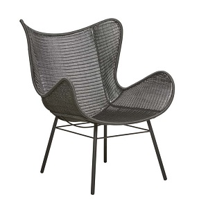 Mauritius Wing Closed Weave Occasional Chair - Licorice