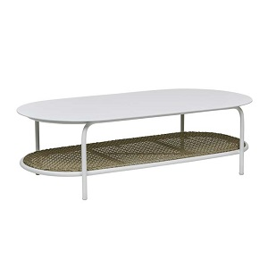 Aperto Rounded Coffee Table - Beige & White