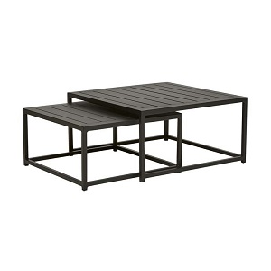 Aruba Square Nest of 2 Coffee Tables - Black