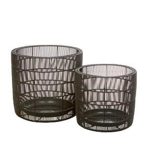 Mauritius Woven Set of 2 Baskets - Licorice