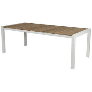 Cancun Ali Rustic Teak Dining Table - Rustic Teak/White