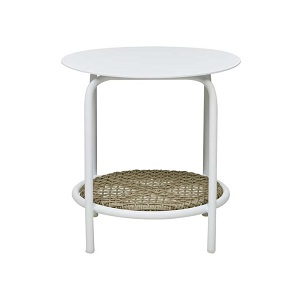 Aperto Rounded Side Table - Beige & White