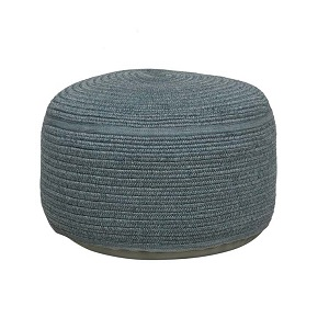 Granada Handwoven Large Round Ottoman - Light Blue