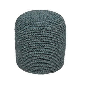 Granada Knotted Round Ottoman - Light Blue