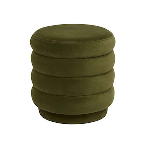 Kennedy Ribbed Round Ottoman - Pickle