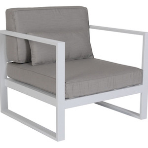 Cancun Ali 1 Seater Sofa - Pale Grey/White