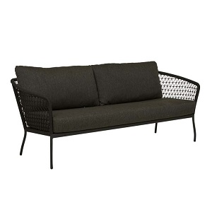 Positano Woven 3 Seater Sofa - Licorice