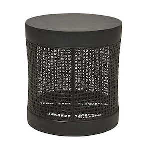 Willow Woven Side Table - Ebony